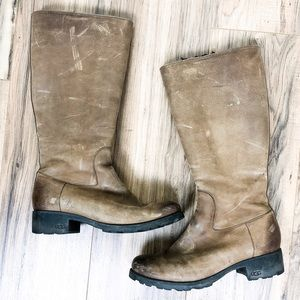 Ugg Broome Brown Nubuck Leather Sheepskin Boot 10